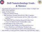 dod nanotechnology goals metrics