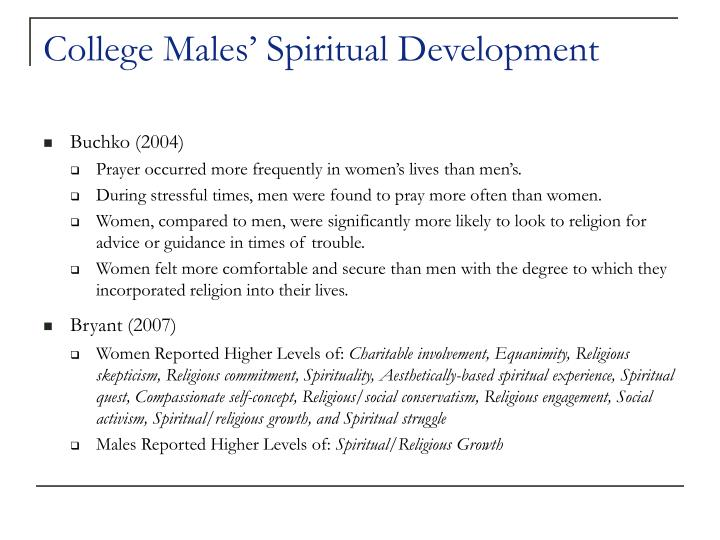 College males spiritual development
