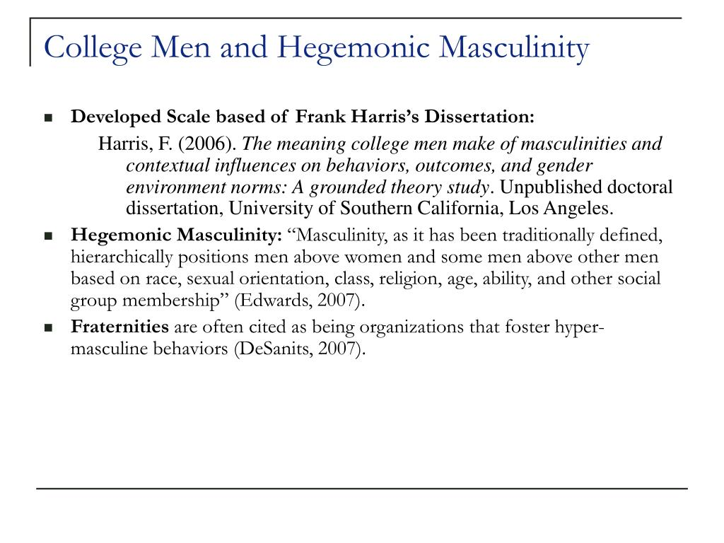 College Men and Hegemonic Masculinity