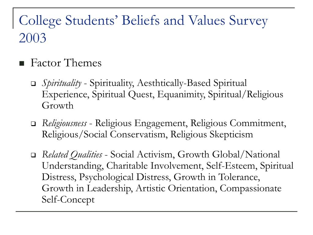 College Students' Beliefs and Values Survey 2003