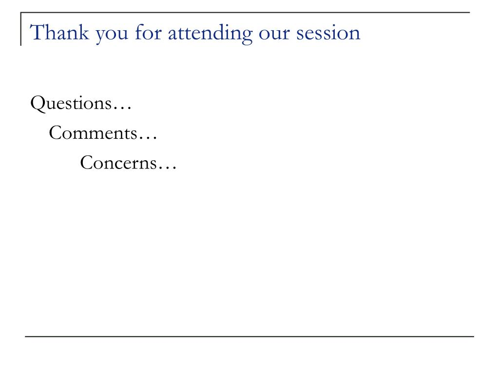 Thank you for attending our session