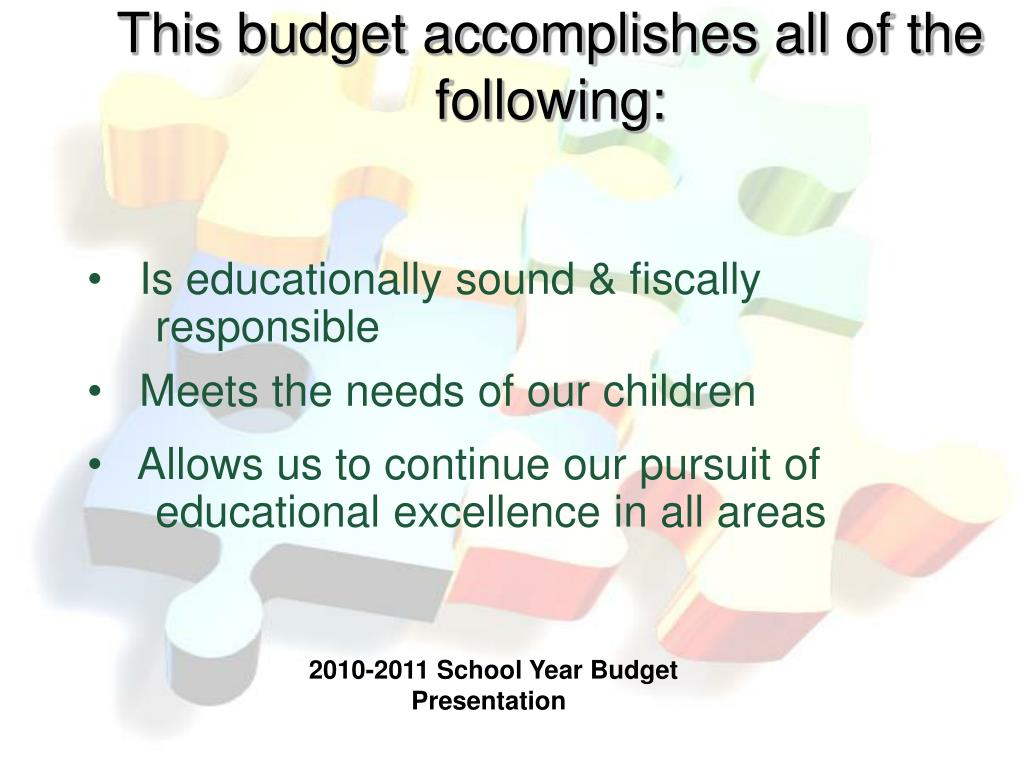 This budget accomplishes all of the following: