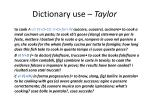 dictionary use taylor