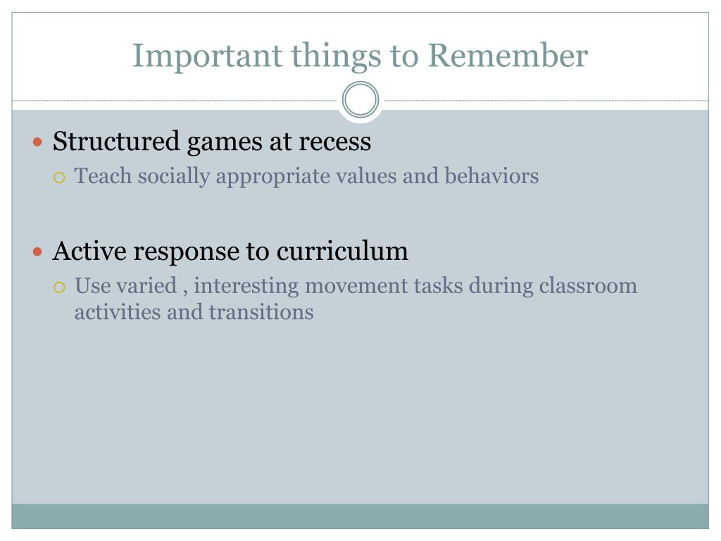 Important things to Remember