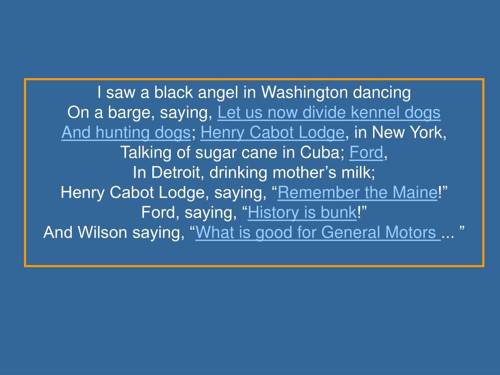 I saw a black angel in Washington dancing