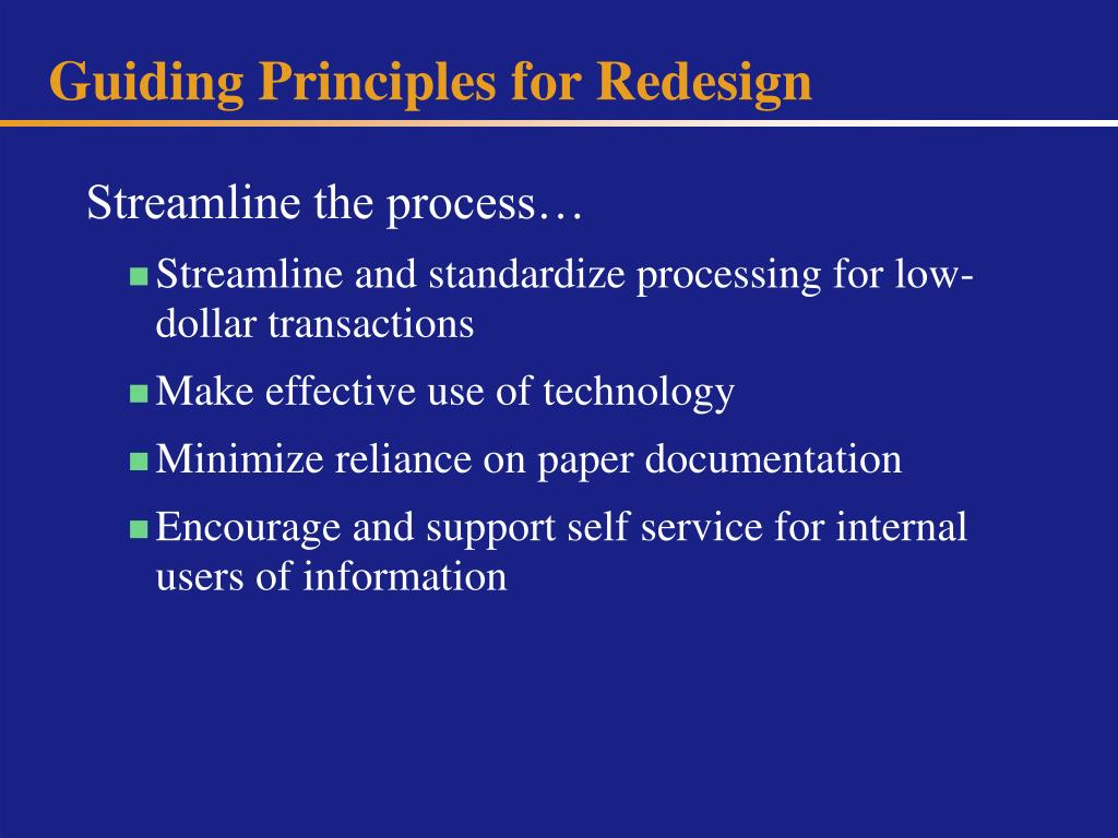 Guiding Principles for Redesign