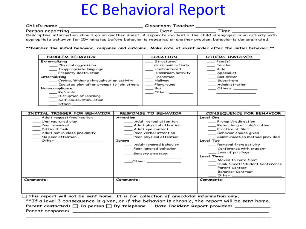 EC Behavioral Report