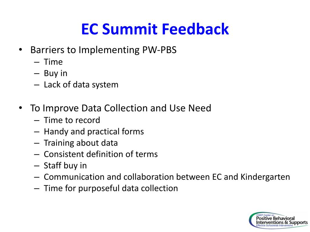 EC Summit Feedback