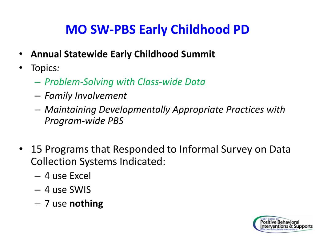 MO SW-PBS Early Childhood PD