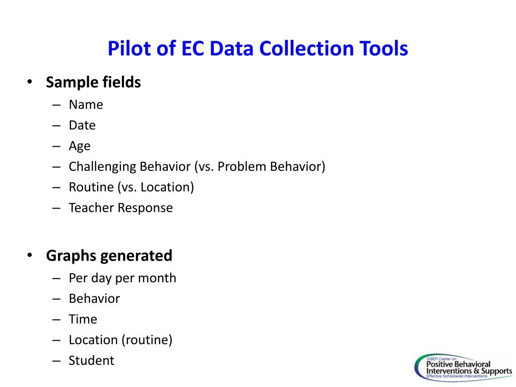 Pilot of EC Data Collection Tools