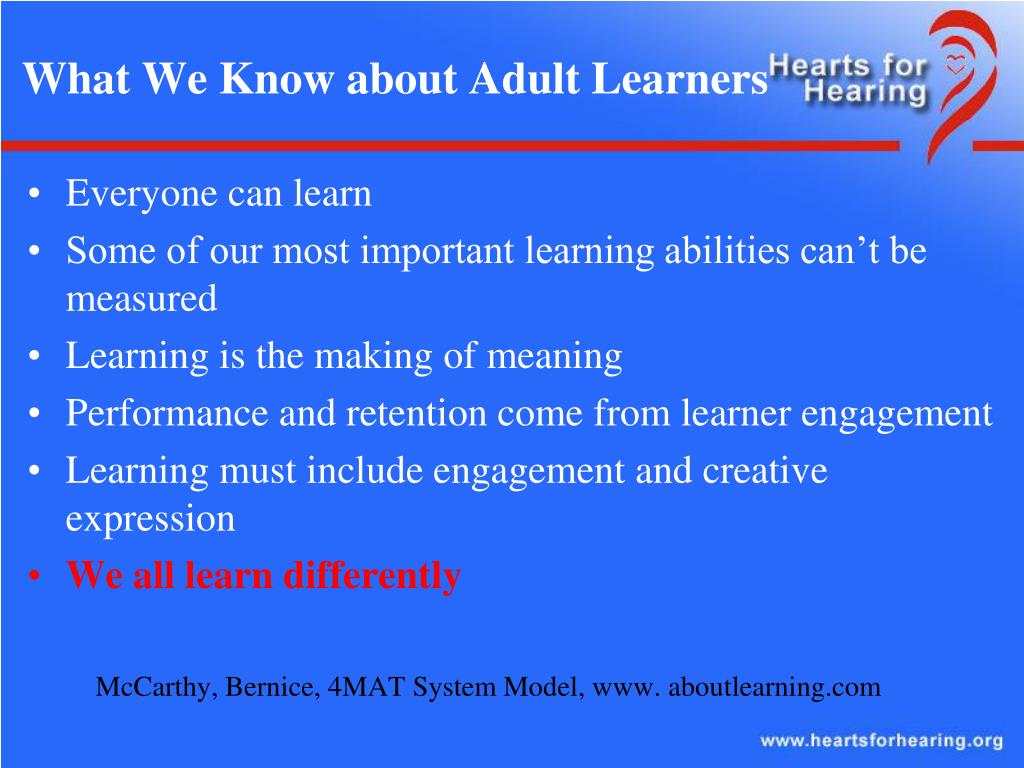 What We Know about Adult Learners