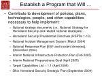 establish a program that will