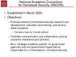 national academic consortium for homeland security nachs