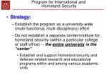 program for international and homeland security17