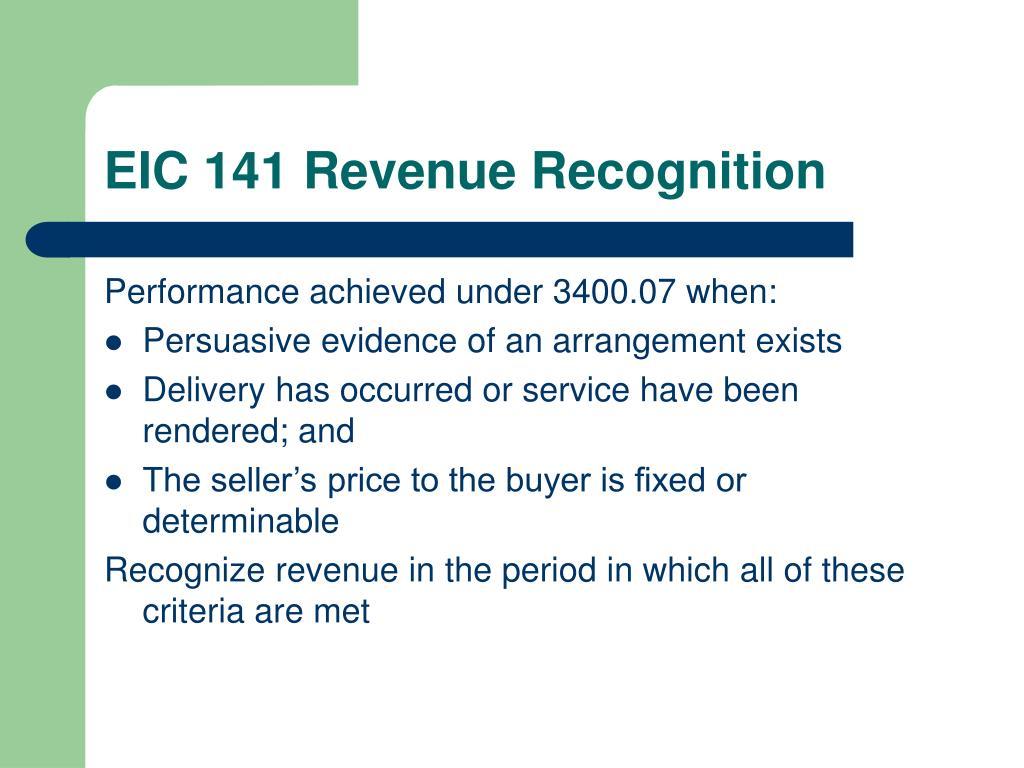 EIC 141 Revenue Recognition