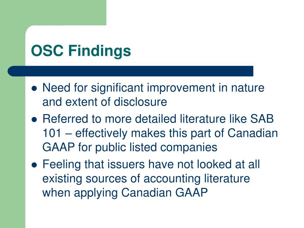 OSC Findings