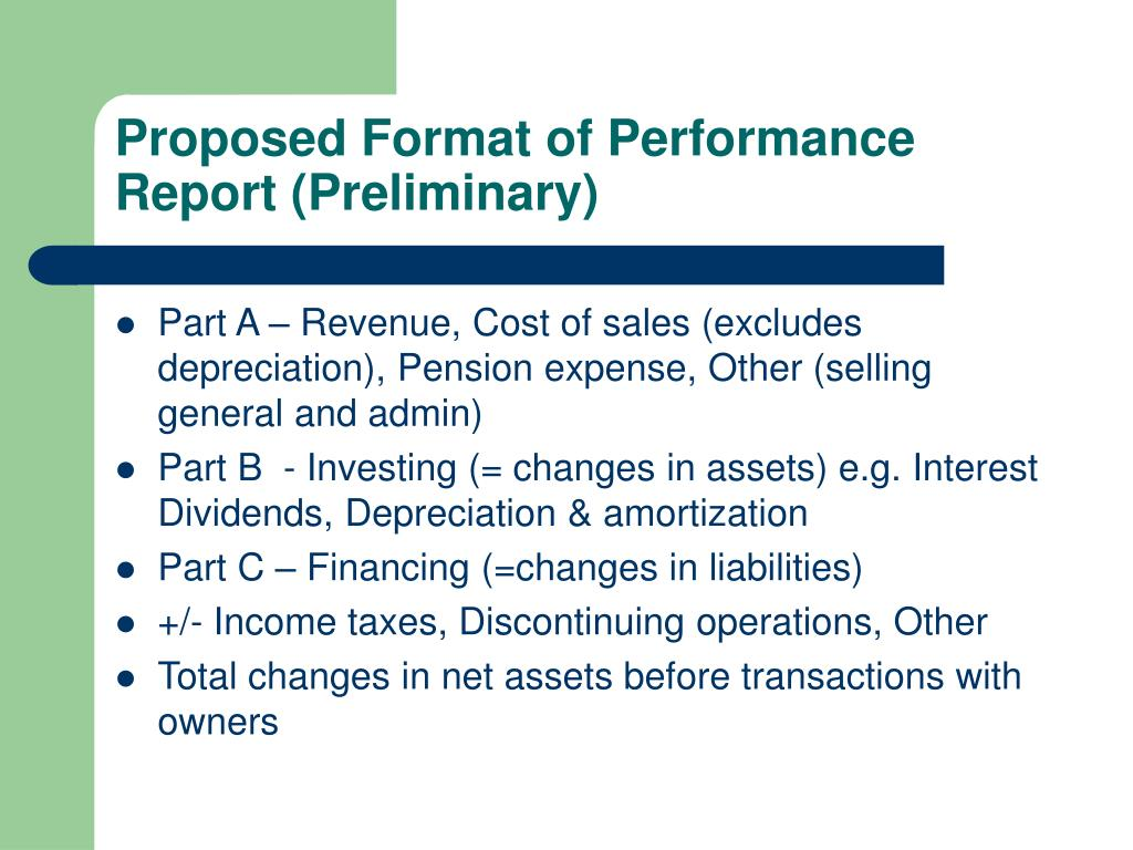 Proposed Format of Performance Report (Preliminary)