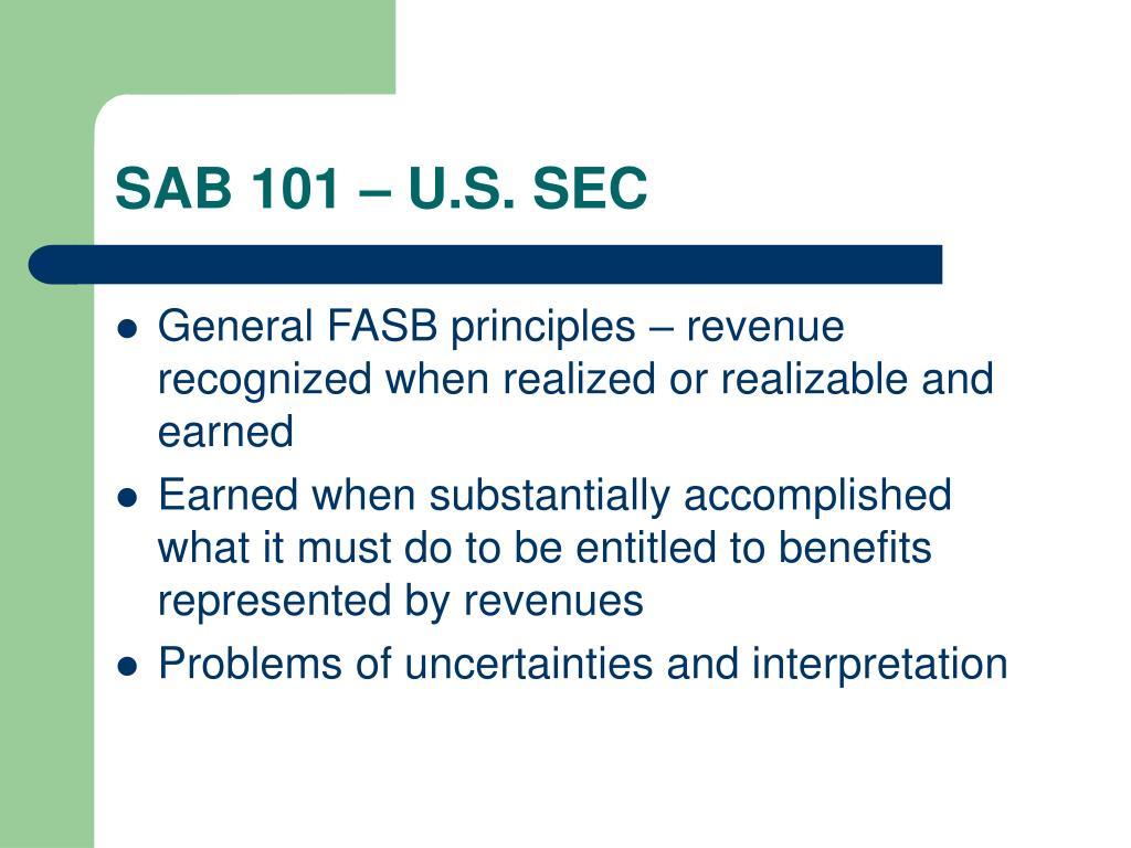 SAB 101 – U.S. SEC