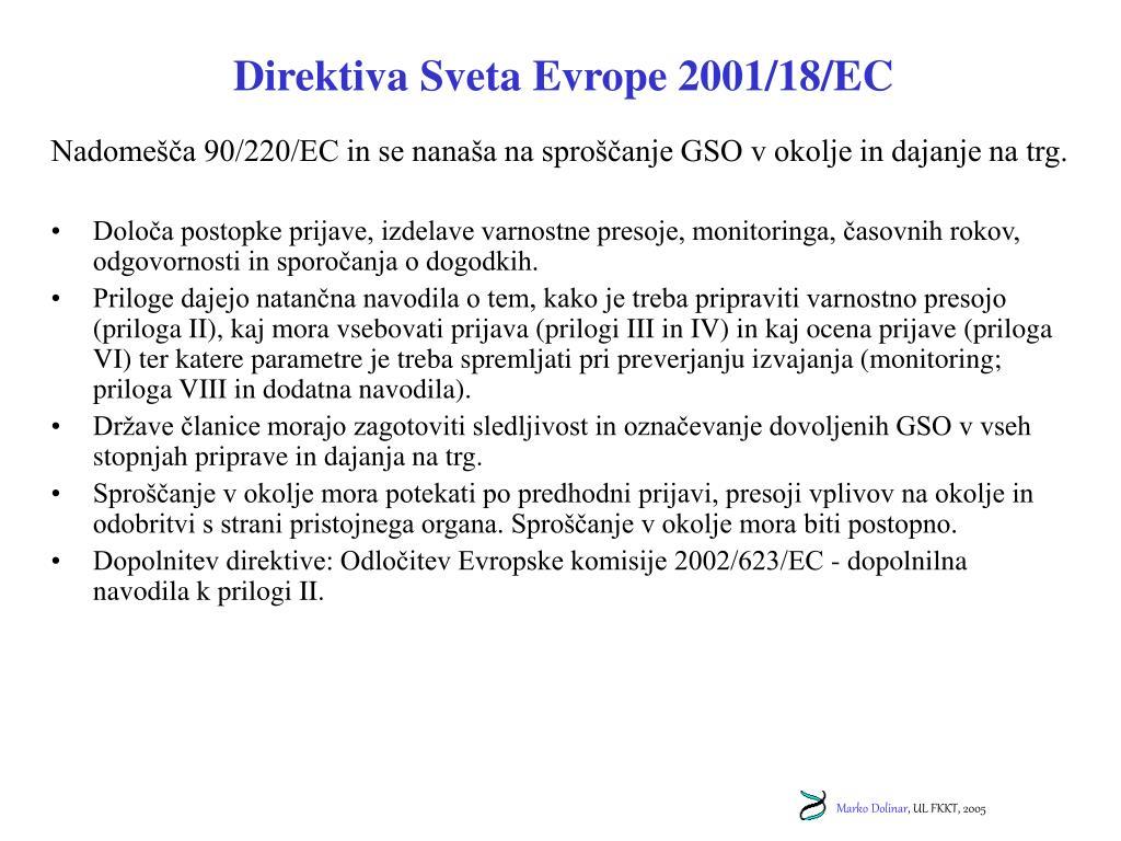 Direktiva Sveta Evrope 2001/18/EC