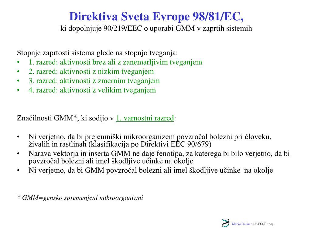 Direktiva Sveta Evrope 98/81/EC,