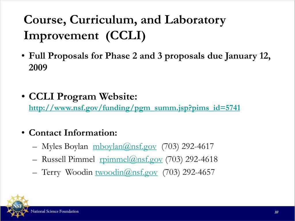 Course, Curriculum, and Laboratory Improvement  (CCLI)