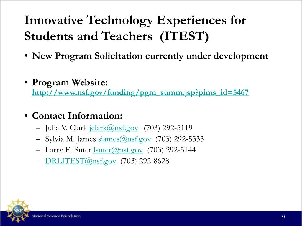 Innovative Technology Experiences for Students and Teachers  (ITEST)