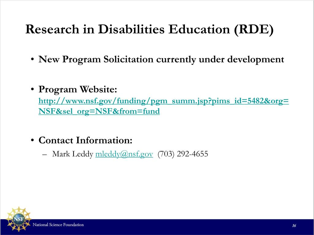 Research in Disabilities Education (RDE)