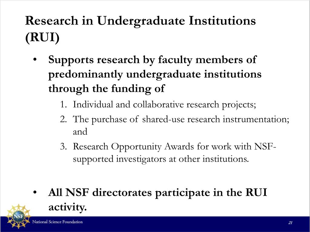Research in Undergraduate Institutions  (RUI)
