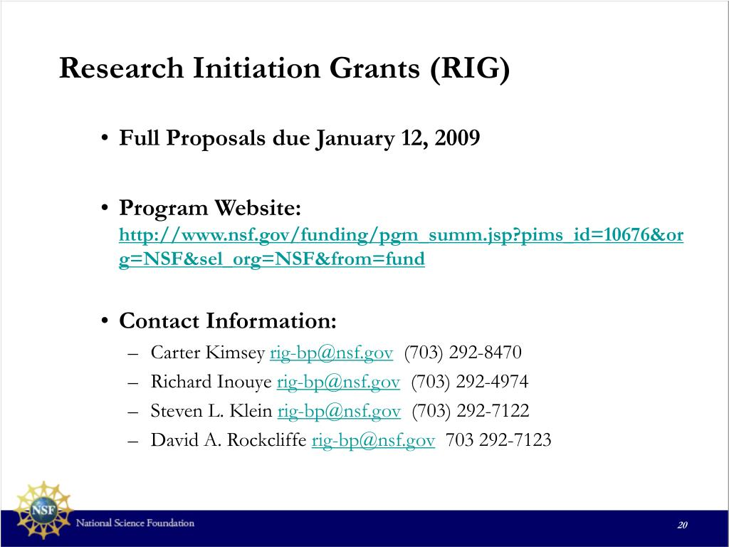 Research Initiation Grants (RIG)