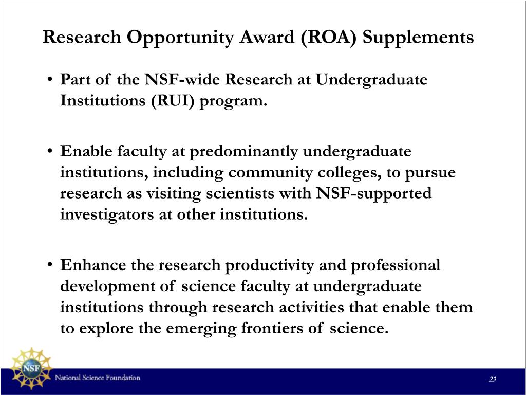Research Opportunity Award (ROA) Supplements