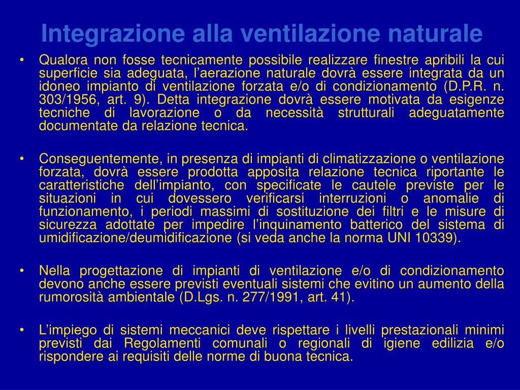 Integrazione alla ventilazione naturale