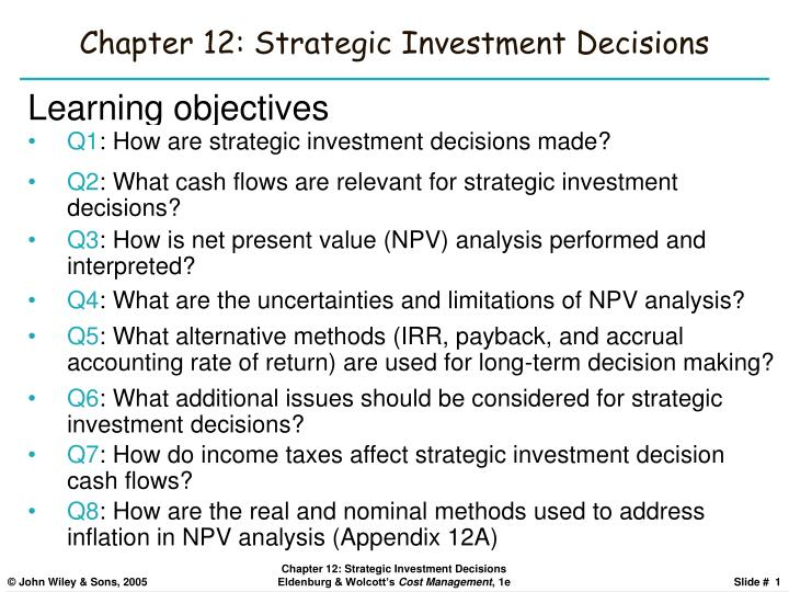 Chapter 12 strategic investment decisions