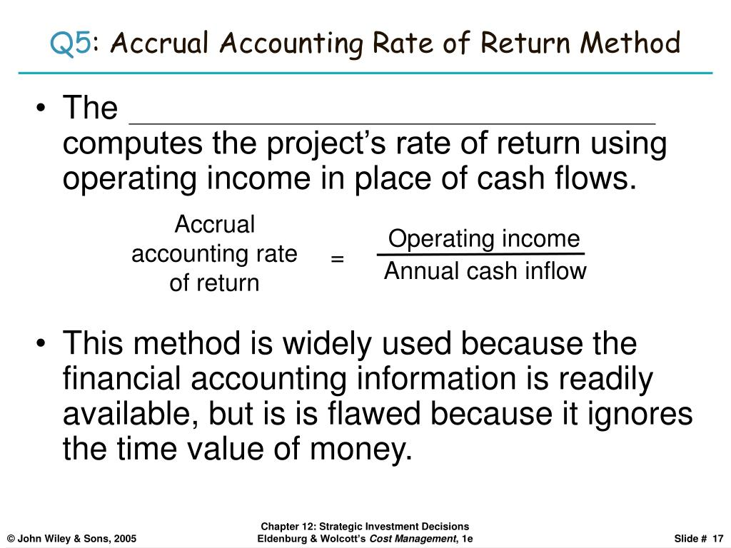 Accrual accounting rate of return