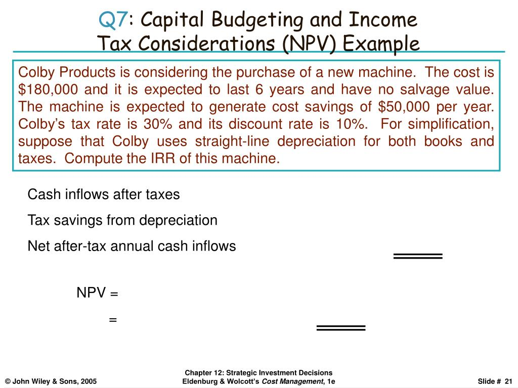 Cash inflows after taxes