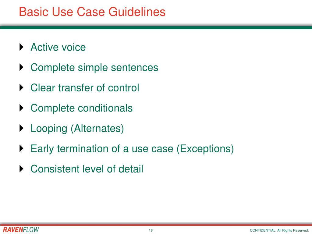 Basic Use Case Guidelines