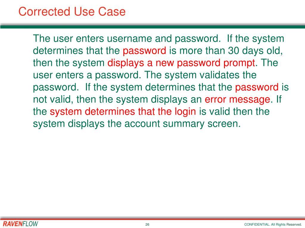 Corrected Use Case