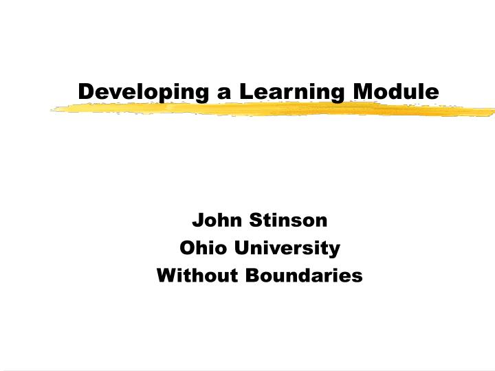 Developing a learning module
