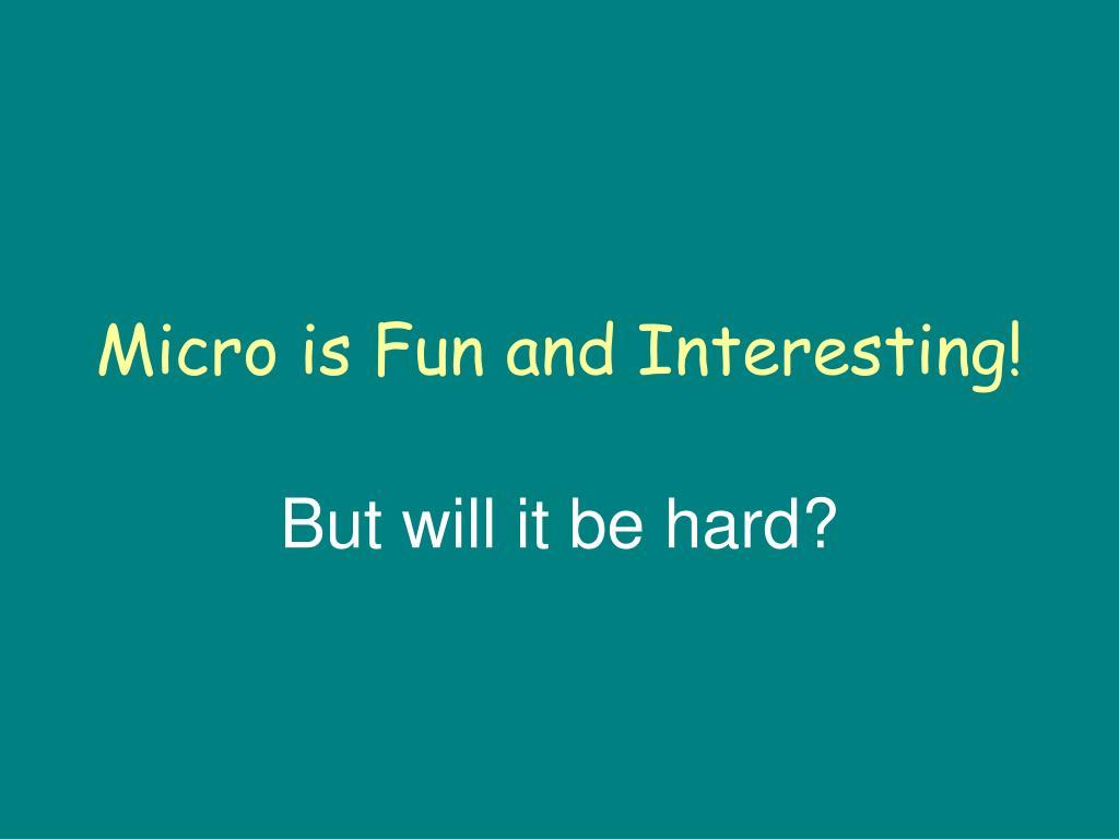 Micro is Fun and Interesting!