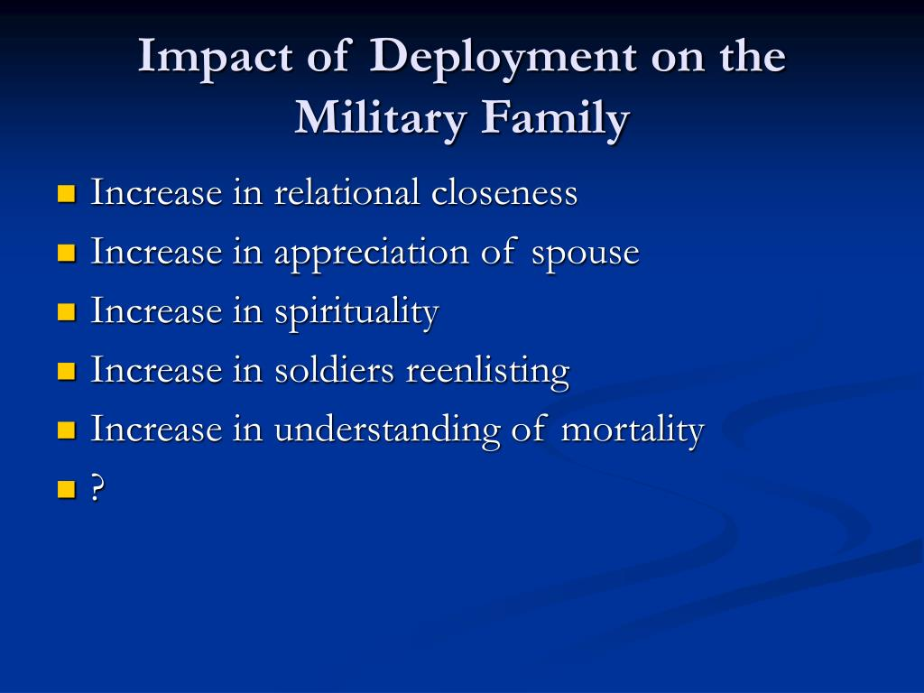 the effects of deployment on military Iza discussion paper no 5615 april 2011 abstract the psychological costs of war: military combat and mental health while descriptive evidence suggests that deployment in the global war on terrorism is.
