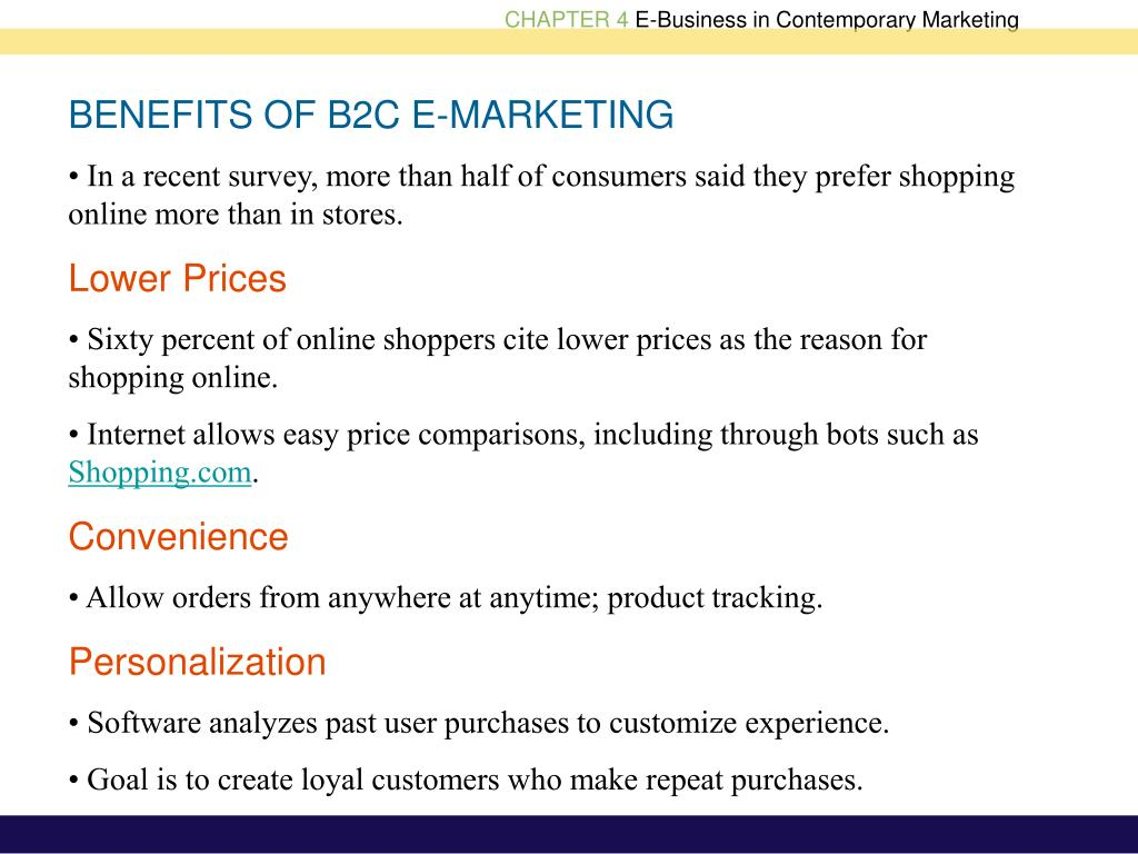 BENEFITS OF B2C E-MARKETING