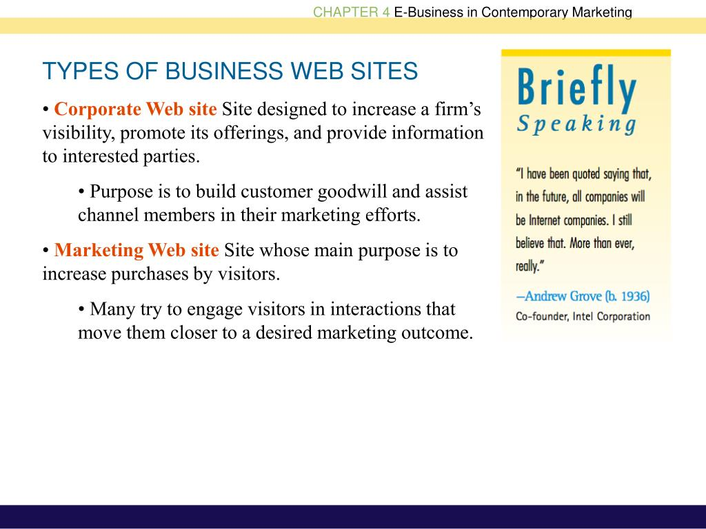 TYPES OF BUSINESS WEB SITES