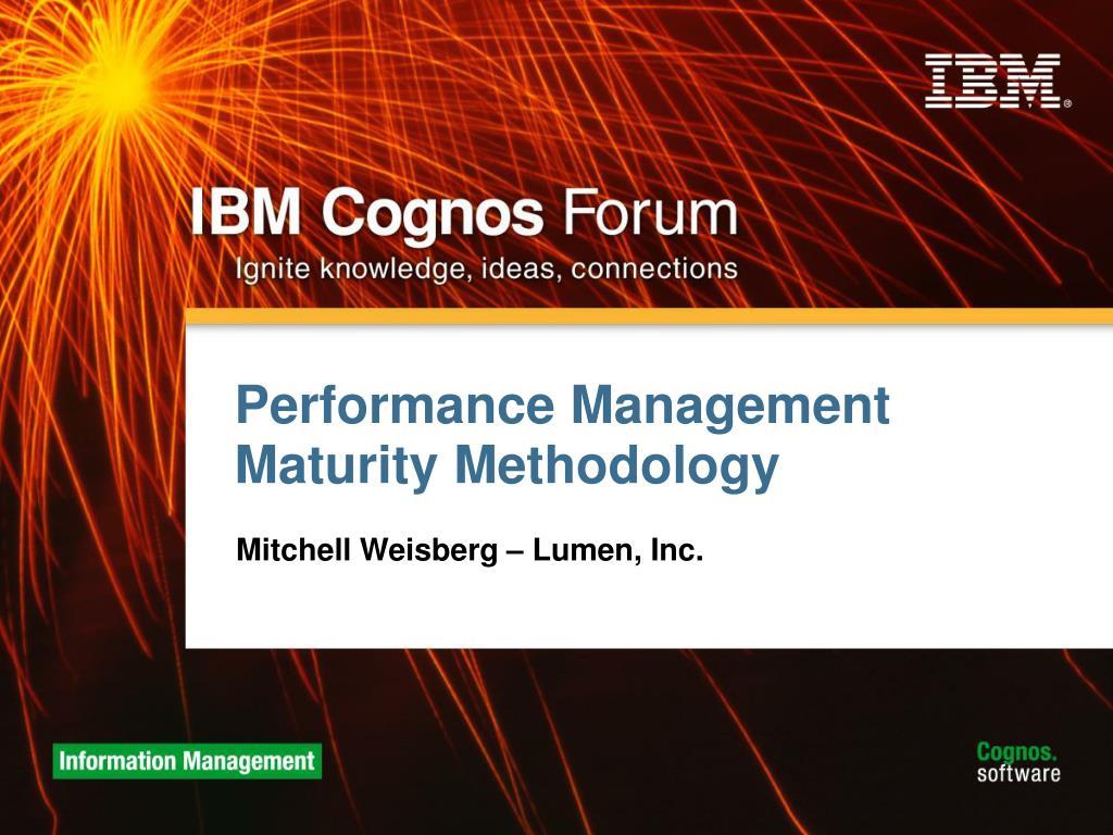 Performance Management Maturity Methodology