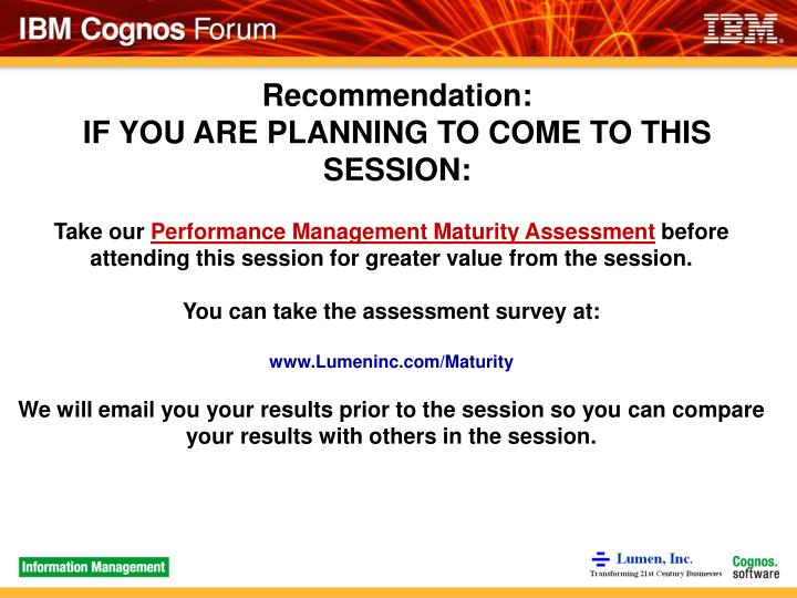 Recommendation if you are planning to come to this session