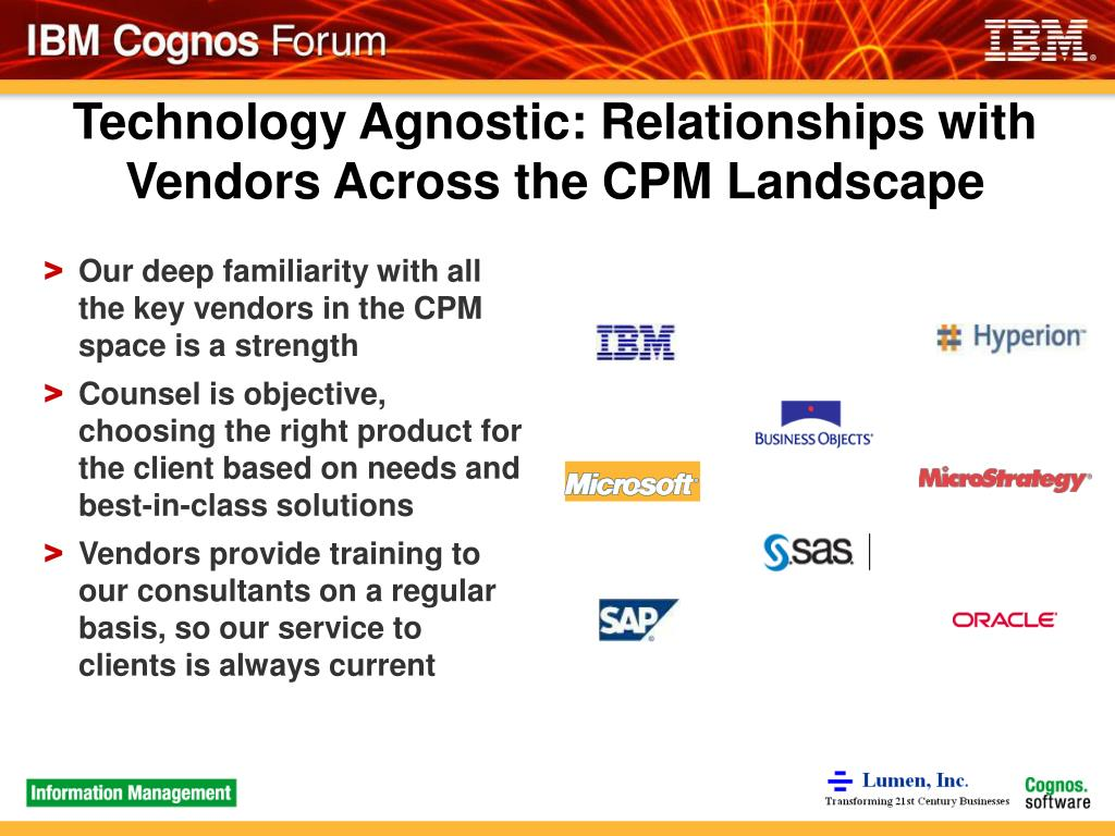 Technology Agnostic: Relationships with Vendors Across the CPM Landscape