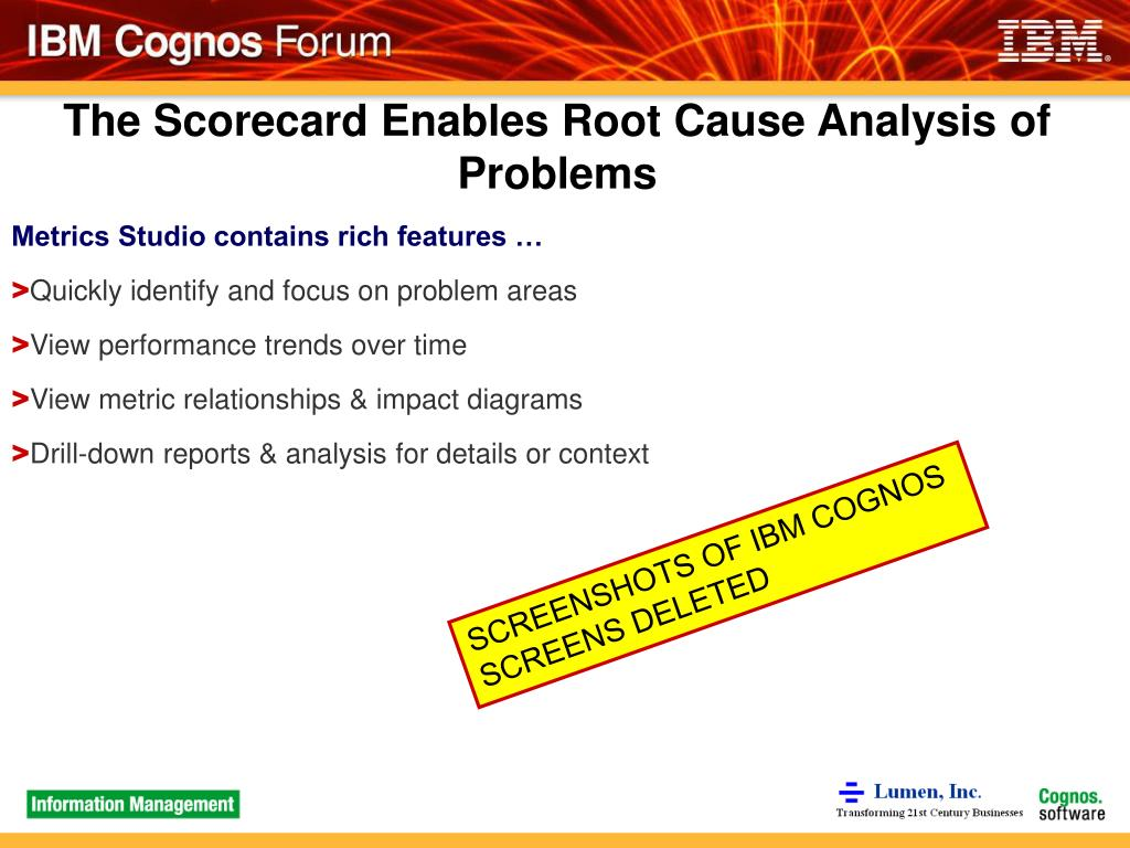 The Scorecard Enables Root Cause Analysis of Problems