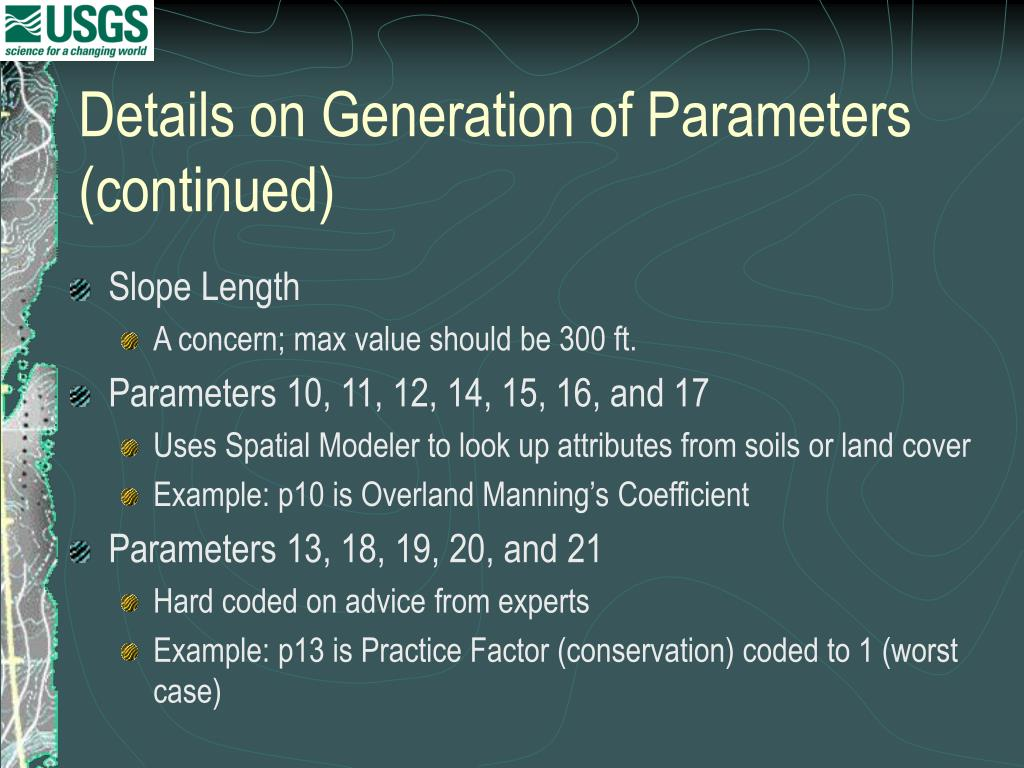 Details on Generation of Parameters  (continued)