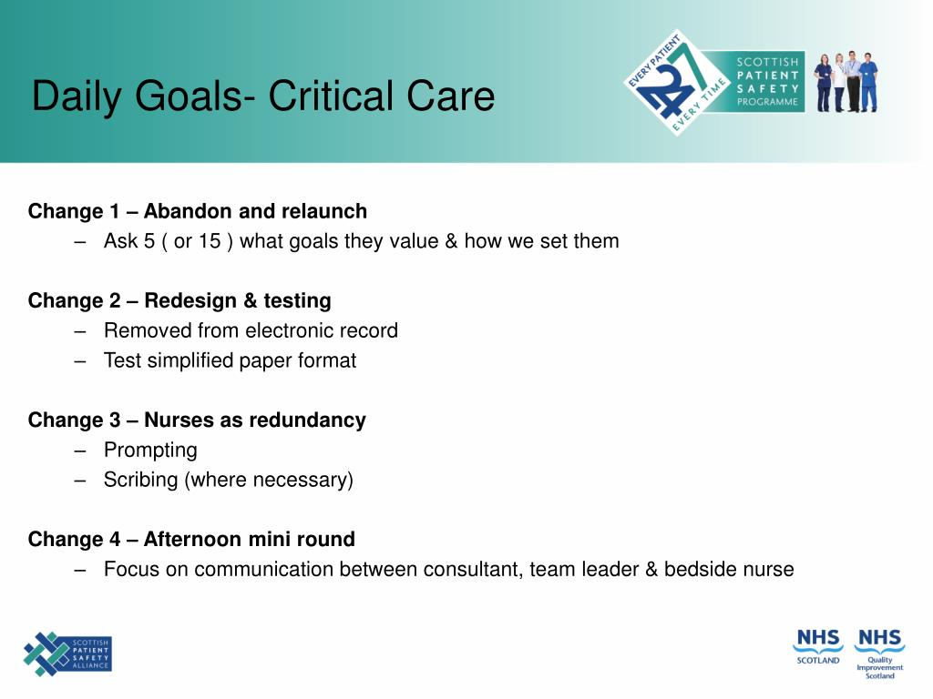 Daily Goals- Critical Care