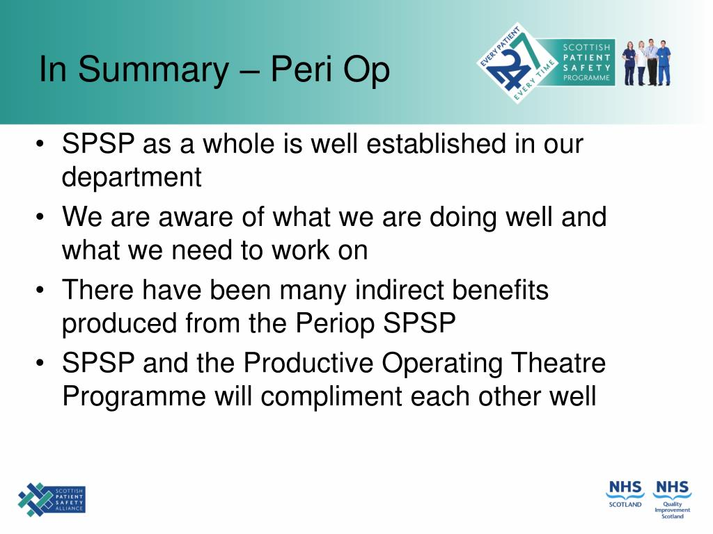 In Summary – Peri Op