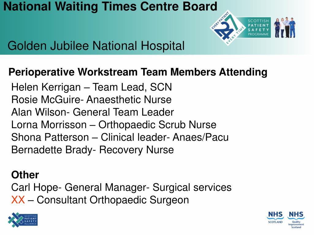 Perioperative Workstream Team Members Attending
