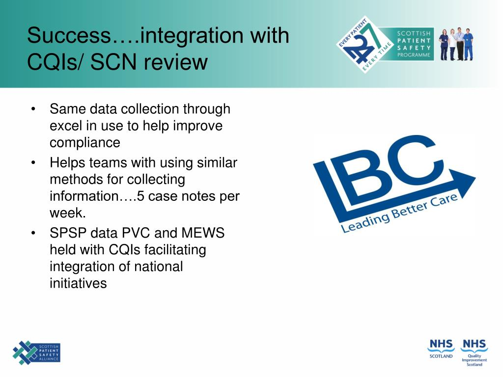 Success….integration with CQIs/ SCN review